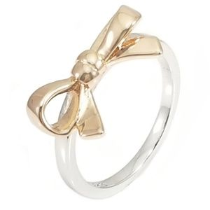 Jewelry - Sterling Silver Rose Gold Bow Ring Size 7